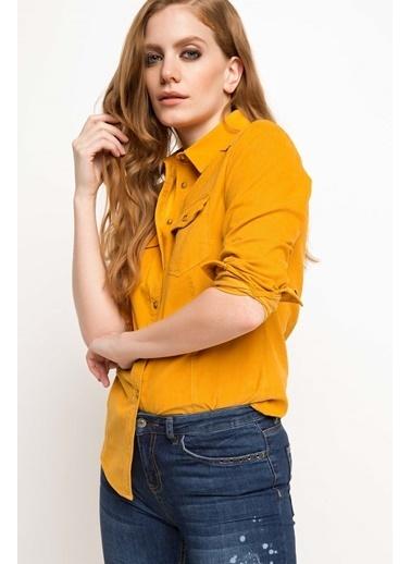 DeFacto Çift Cep Gömlek Sarı